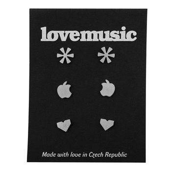 Ocelové naušnice pecky- sada- Love
