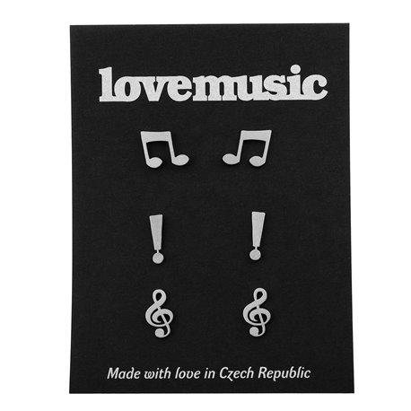 Ocelové naušnice pecky- sada-Music