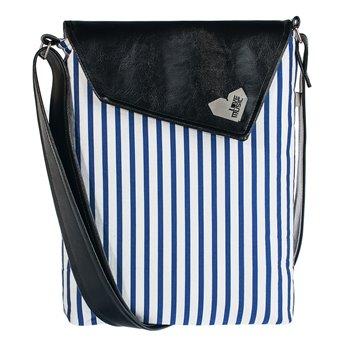 Dámská kabelka Dafné - černá - Modrobílý proužek
