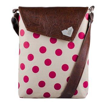Dámská kabelka Dafné - hnědá - Růžový puntík