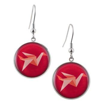 Kulaté visací náušnice Epoxy - červené - Jeřáb origami