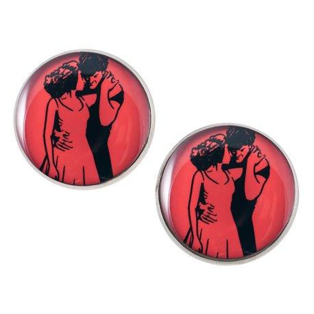 Velké náušnice pecky Epoxy - červené-Hříšný tanec