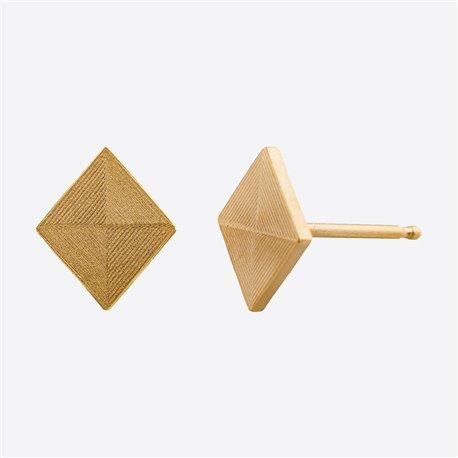 Ocelové náušnice pecky - Briliant - Kosočtverec - Gold