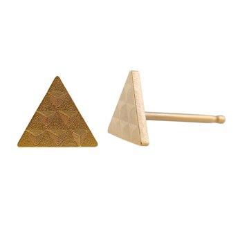 Ocelové náušnice pecky - Briliant - Trojúhelník - Gold