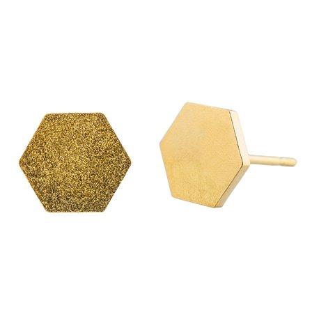Ocelové náušnice pecky - Šestiúhelník - Gold