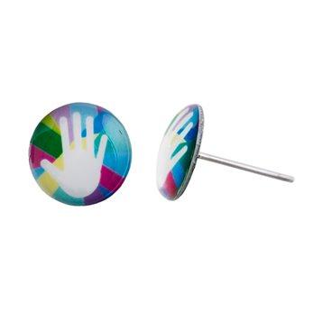 Malé náušnice pecky - barevné - Hand