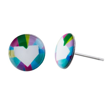Malé náušnice pecky - barevné - Heart