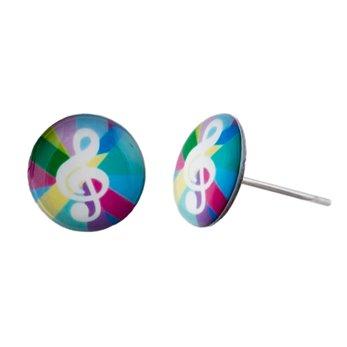Malé náušnice pecky - barevné - Houslový klíč