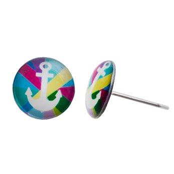 Malé náušnice pecky - barevné - Kotvička