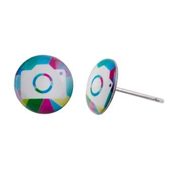 Malé náušnice pecky - barevné - Snap