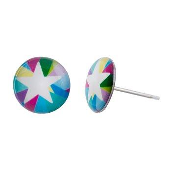 Malé náušnice pecky - barevné - Star