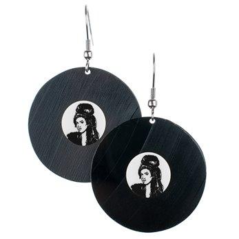 Visací náušnice vinyl - bílé - Amy Winehouse