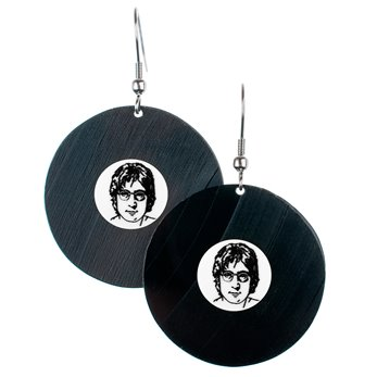 Visací náušnice vinyl - bílé - John Lennon