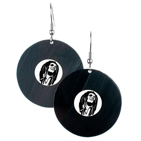 Visací náušnice vinyl - bílé - Bob Marley