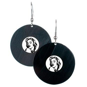 Visací náušnice vinyl - bílé - Marilyn Monroe