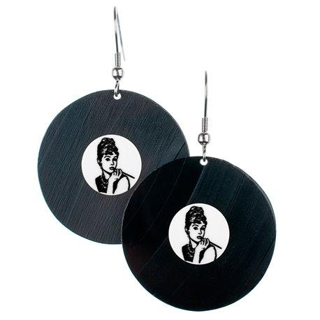 Visací náušnice vinyl - bílé - Audrey Hepburn