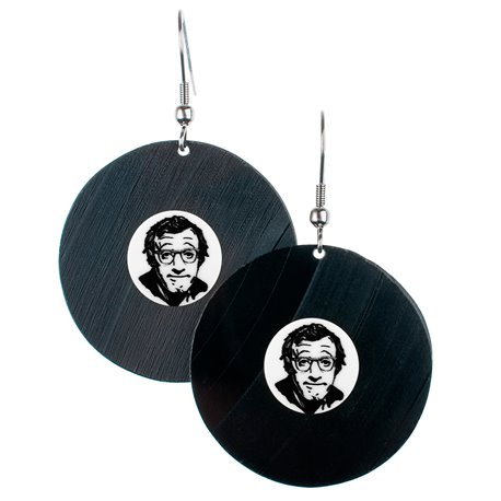 Visací náušnice vinyl - bílé - Woody Allen