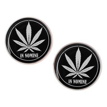 Velké náušnice pecky Epoxy - Cannabis