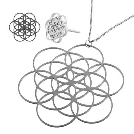 Sada ocelových šperků - Květ života Earstuds
