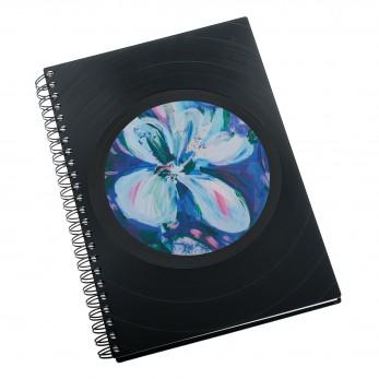 Zápisník z vinylových desek A5 - bez linek - Květ modrý