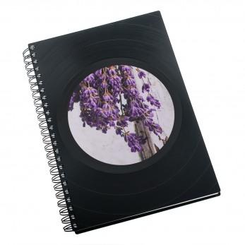 Zápisník z vinylových desek A5 - bez linek - Levandule