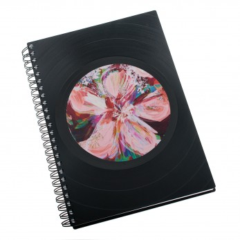 Zápisník z vinylových desek A5 - bez linek - Květ růžový