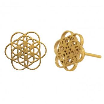 Ocelové náušnice pecky - Květ života - Gold