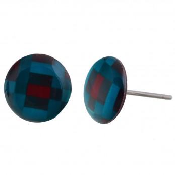 Malé náušnice pecky - Pixely modročervené