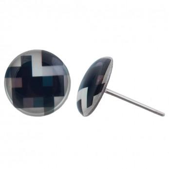Malé náušnice pecky - Pixely černobílé