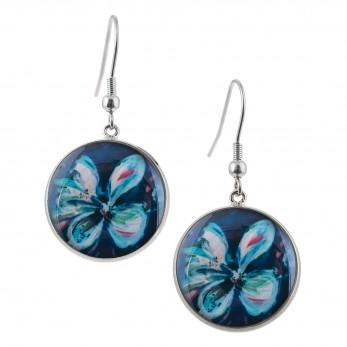 Kulaté visací náušnice Epoxy - Květ modrý