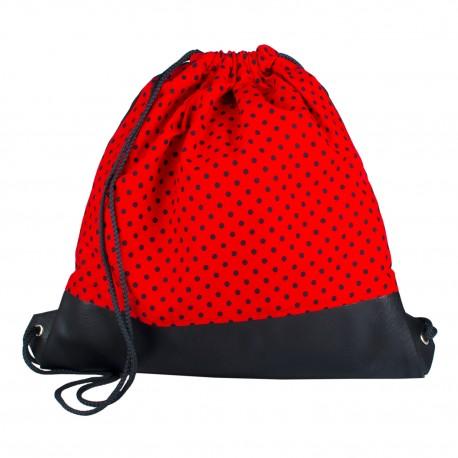 Vak na záda s koženkou - Červenočerný Puntík