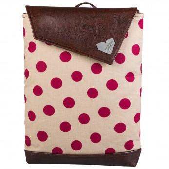 Batoh ZEN hnědý - růžový puntík