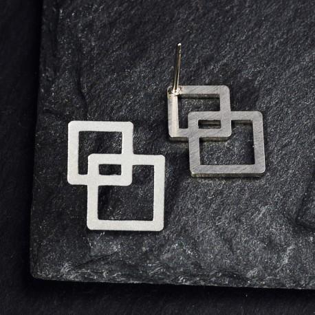 Ocelové náušnice pecky - Square Light
