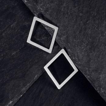 Ocelové náušnice pecky - Geometry - Diamond