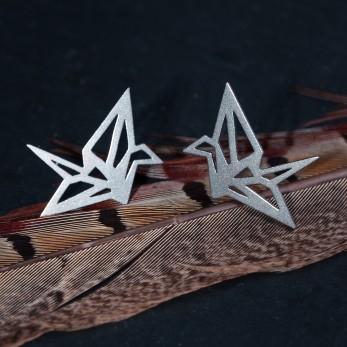 Ocelové náušnice pecky - Origami Light