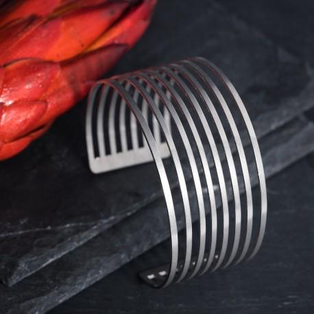 Dámský luxusní ocelový náramek - Parallel silver