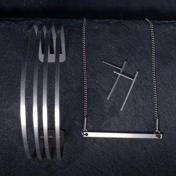 Sada ocelových šperků Geometry - Line