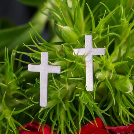 Ocelové náušnice pecky Křížky