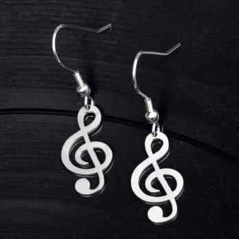 Visací ocelové náušnice Hudba