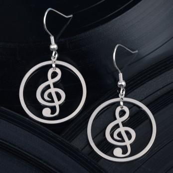 Visací ocelové náušnice Music