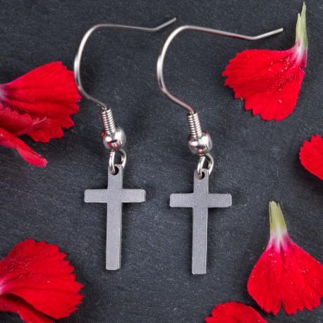 Visací ocelové náušnice Křížky