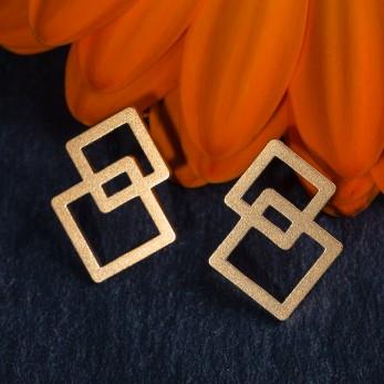 Ocelové náušnice pecky - Square Gold
