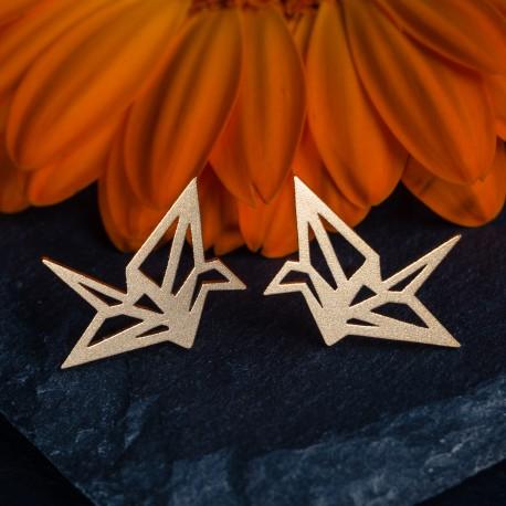 Ocelové náušnice pecky - Origami Gold