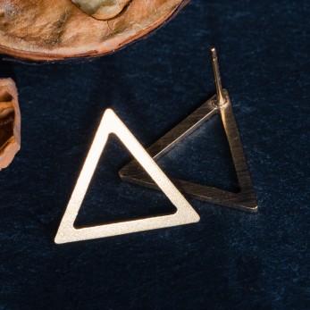 Ocelové náušnice pecky - Geometry - Triangle Gold