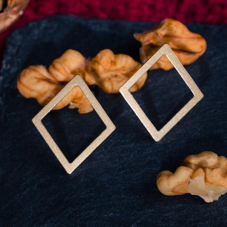 Ocelové náušnice pecky - Geometry - Diamond Gold