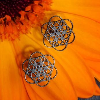 Ocelové náušnice pecky - Květ života - Black