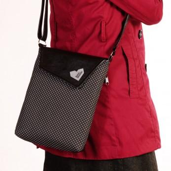 Dámská kabelka Malá Dafné - Černobílý puntíček
