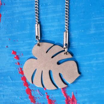 Ocelový náhrdelník Monstera