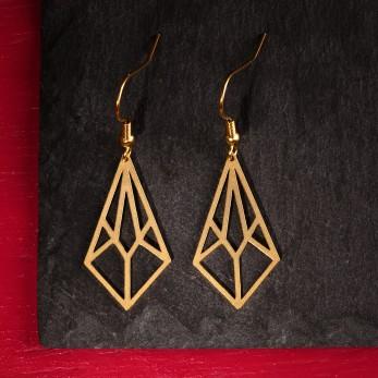 Visací ocelové náušnice - Linear Light Gold