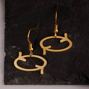 Visací ocelové náušnice Dobrá karma Gold